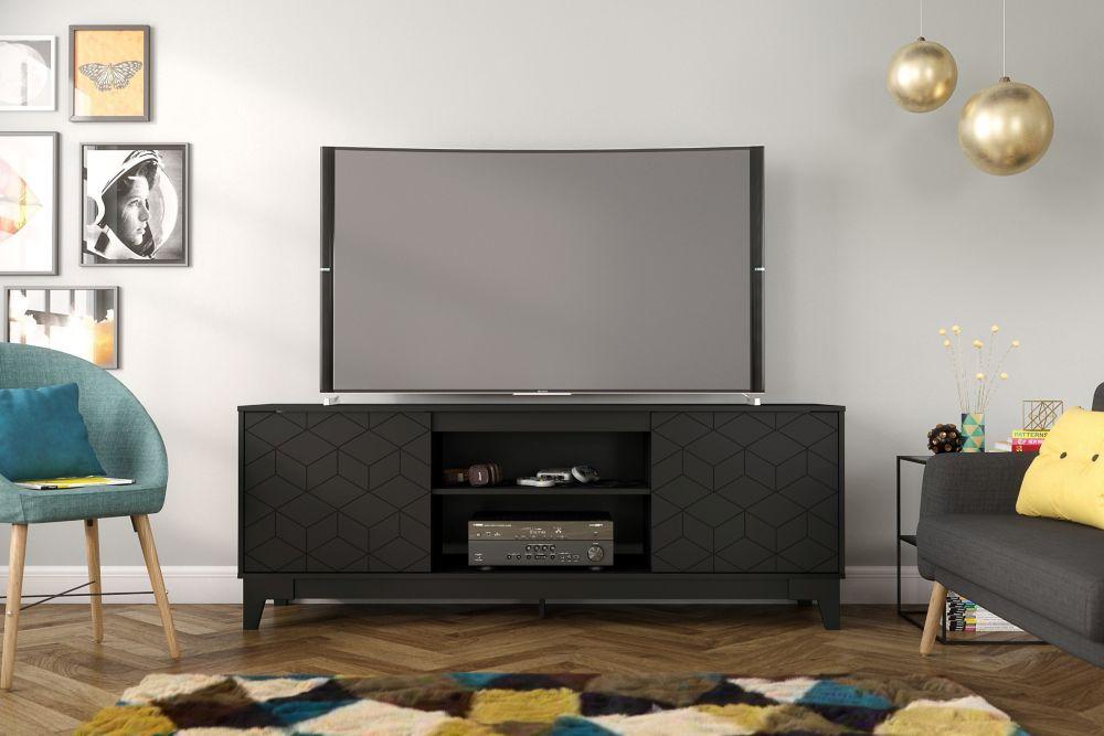 Meuble téléviseur Hexagon, 72 po, noir