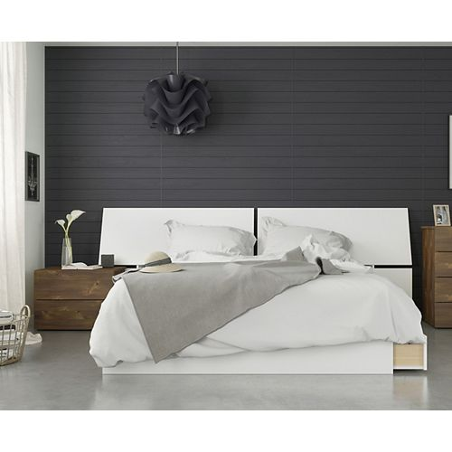 Arcadia 3 Piece Queen Size Bedroom Set, Truffle and White