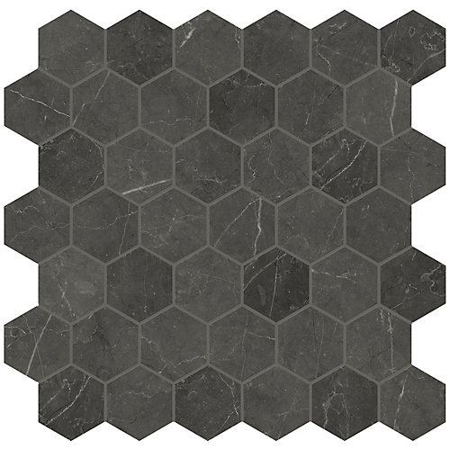 Trentino Graphite 2-inch Hexagon Polished Porcelain Mosaics