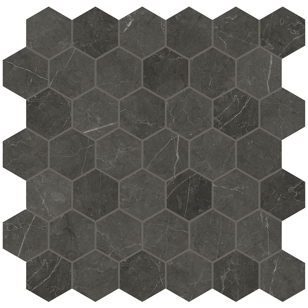Enigma Trentino Graphite 2-inch Hexagon Polished Porcelain 11.75-inch x 11.75-inch Mosaic Tile