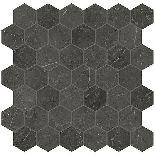 Carreau de mosaïque hexagonale Trentino Graphite, 2 po x 11,75 po x 11,75 po, porcelaine polie