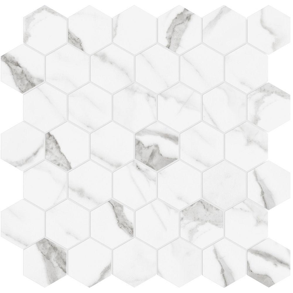 Enigma Mosaïques hexagonales en porcelaine polie Statuario de 2 po