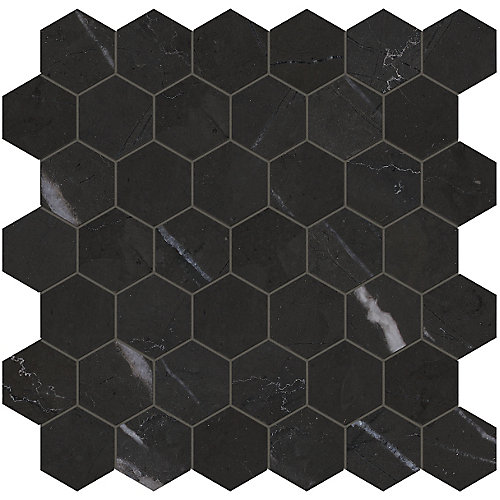Marquina 2-inch Hexagon Polished Marble Mosaics