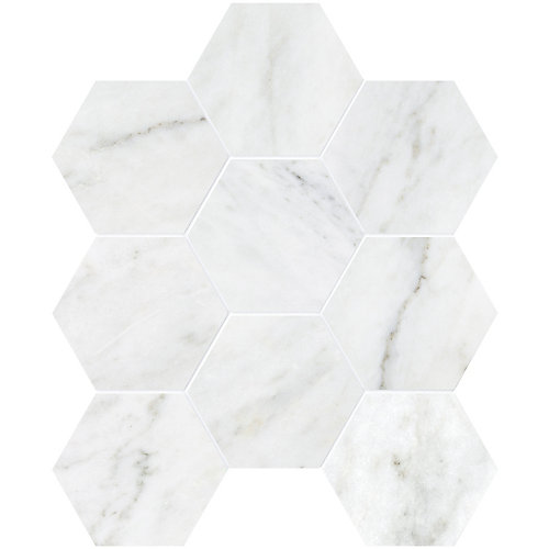 Bianco 4-inch Hexagon Polished Marble Mosaics