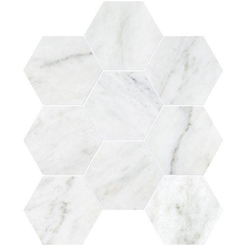 Enigma Bianco 4-inch Hexagon Polished Marble Mosaics