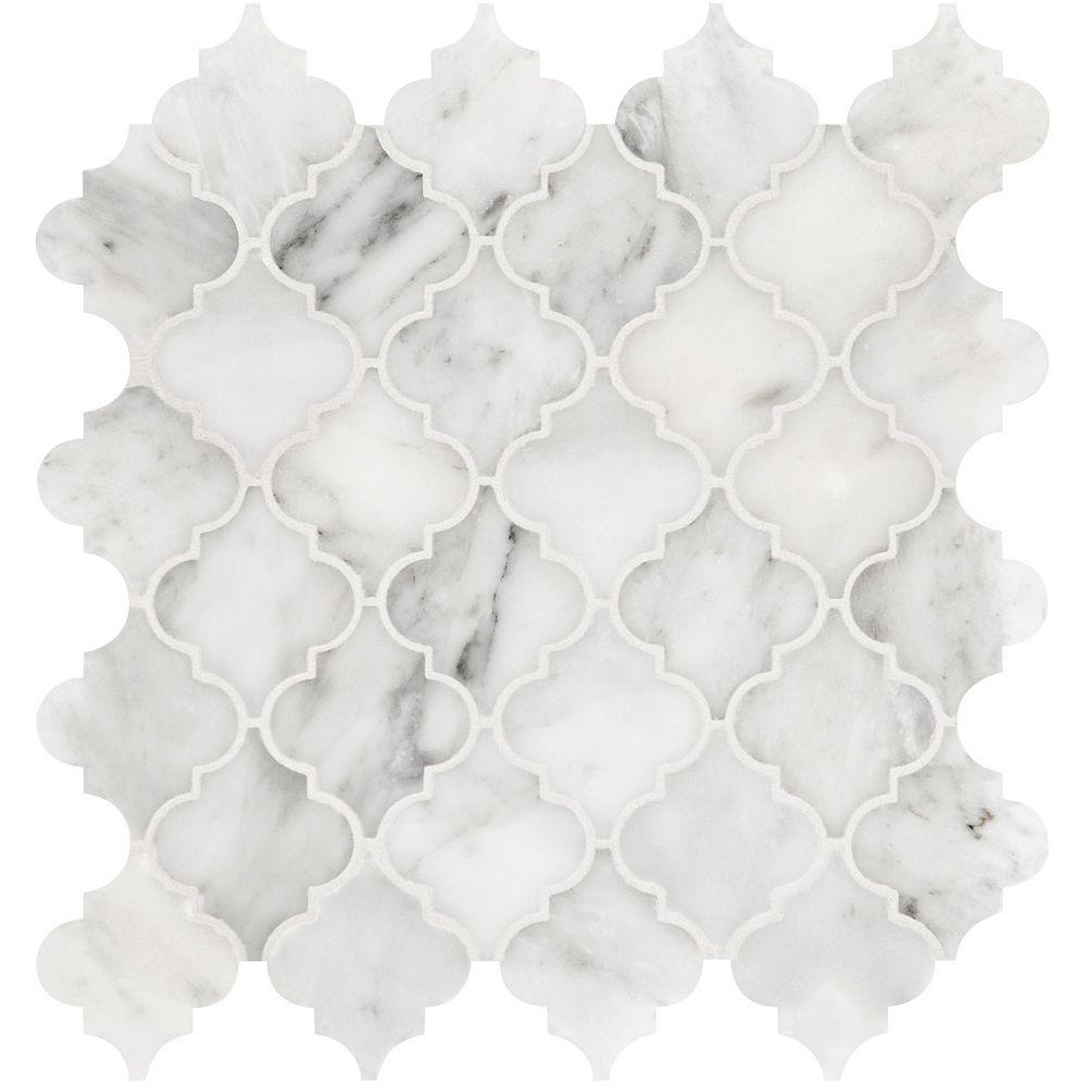 Enigma Bianco 2-inch Arabesque Polished Marble Mosaics
