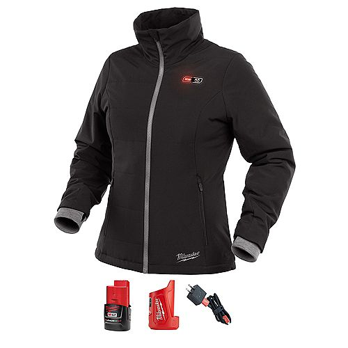 Women's M12 12V Lithium-Ion Cordless Black Heated Jacket Kit w/ 2Ah Battery & Charger