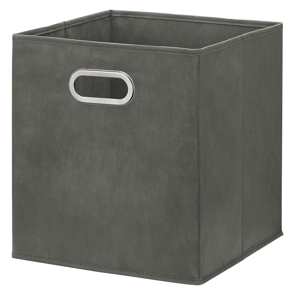 HDG 12 inch Foldable Fabric Storage Bin in Grey Color