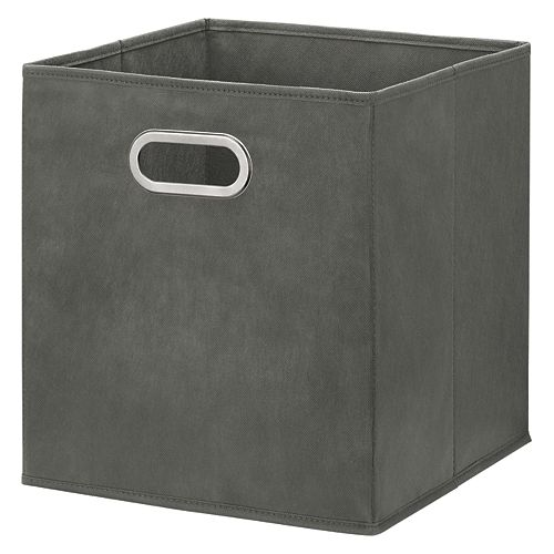 12 inch Foldable Fabric Storage Bin in Grey Color