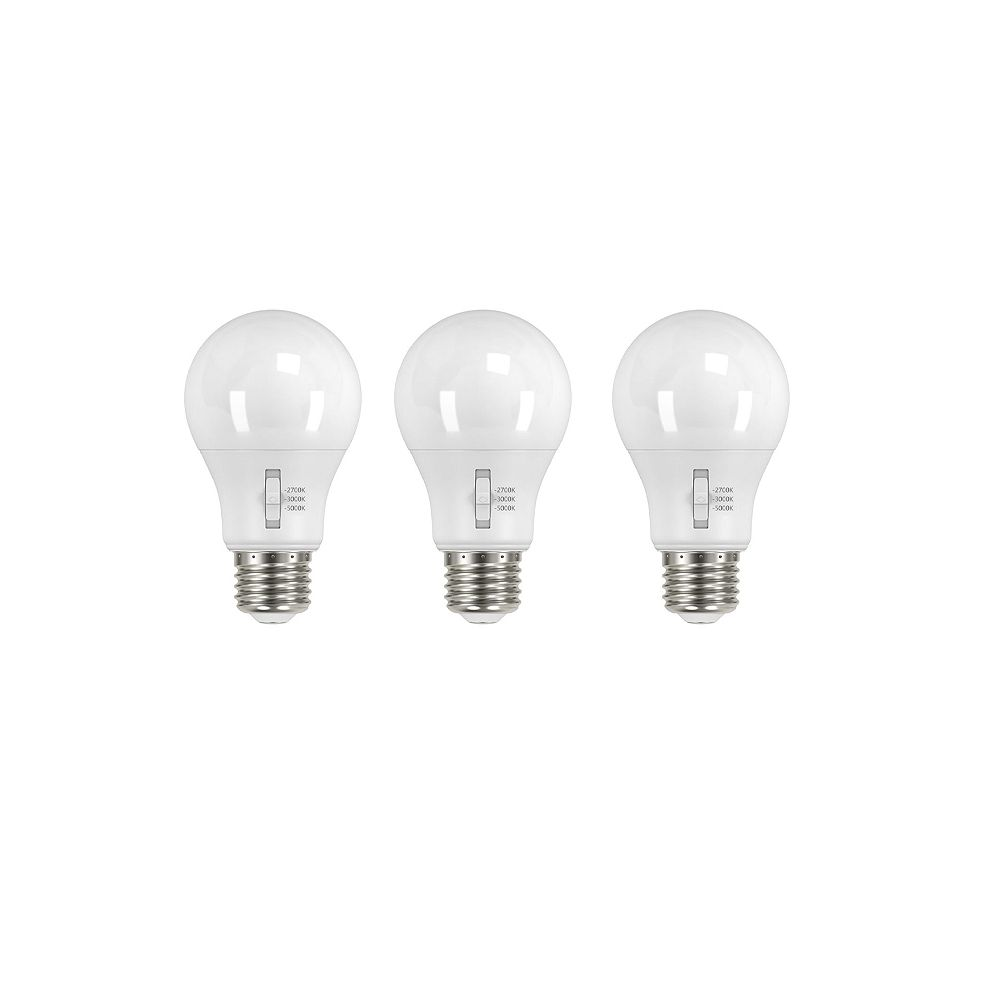 Ecosmart 60w Equivalent Tunable White A19 Dimmable Led Light Bulb 3 Pack The Home Depot Canada