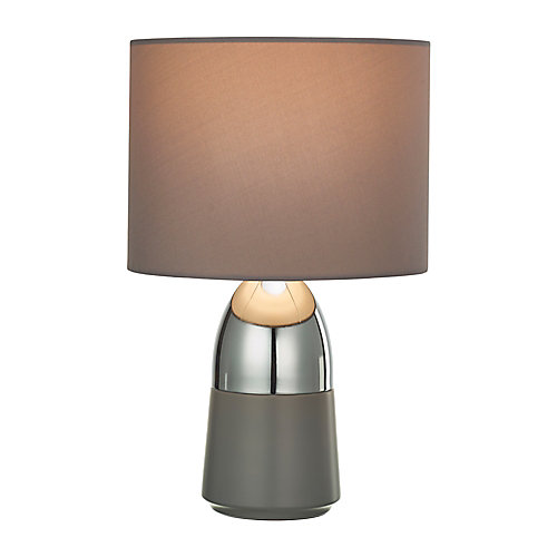 Two-Tone Accent Lamp with Grey Shade, Polished Silver and Matte Grey Finish, 2-Pack