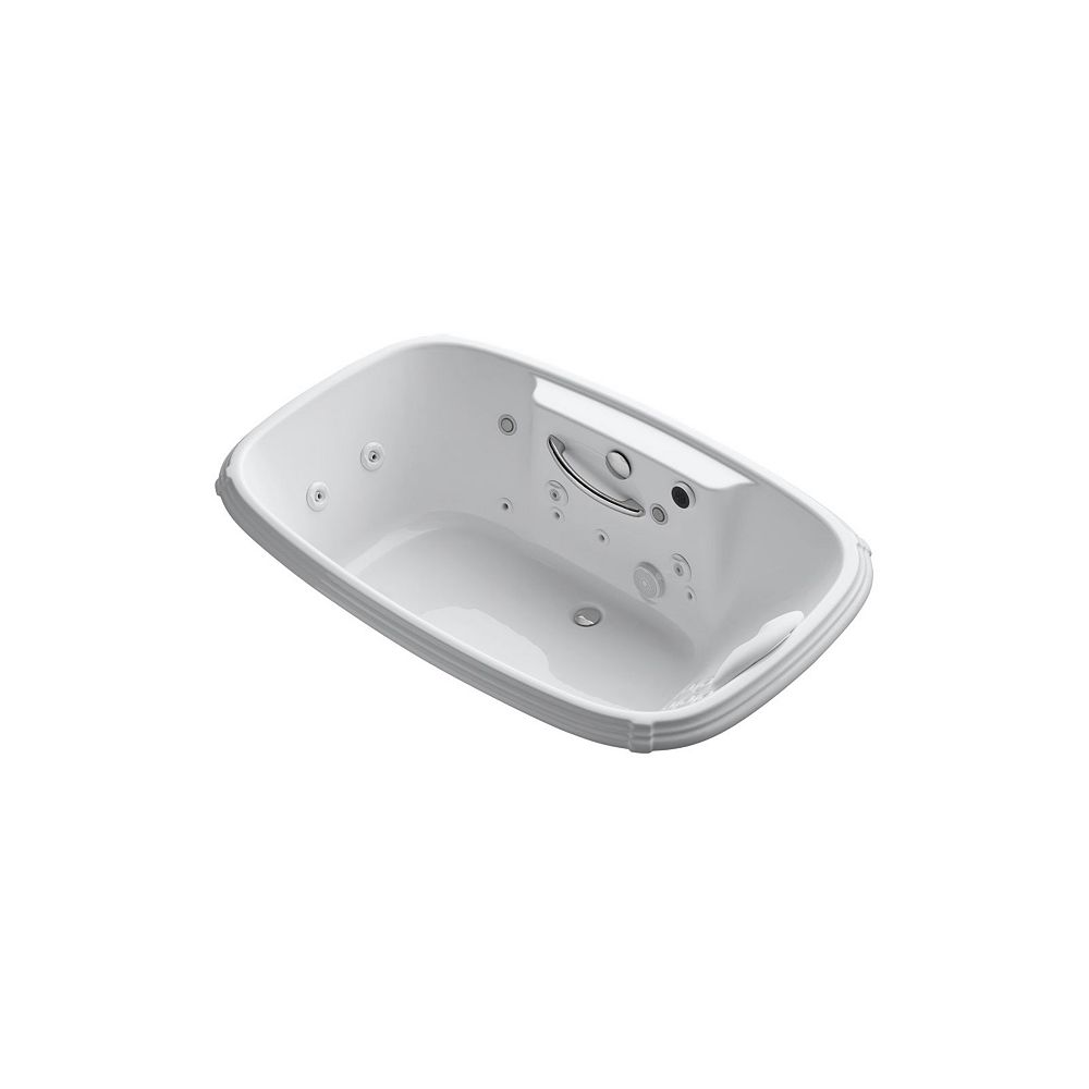 KOHLER 67 inch x 42 inch drop-in Effervescence + whirlpool with spa/massage package and left-hand pump