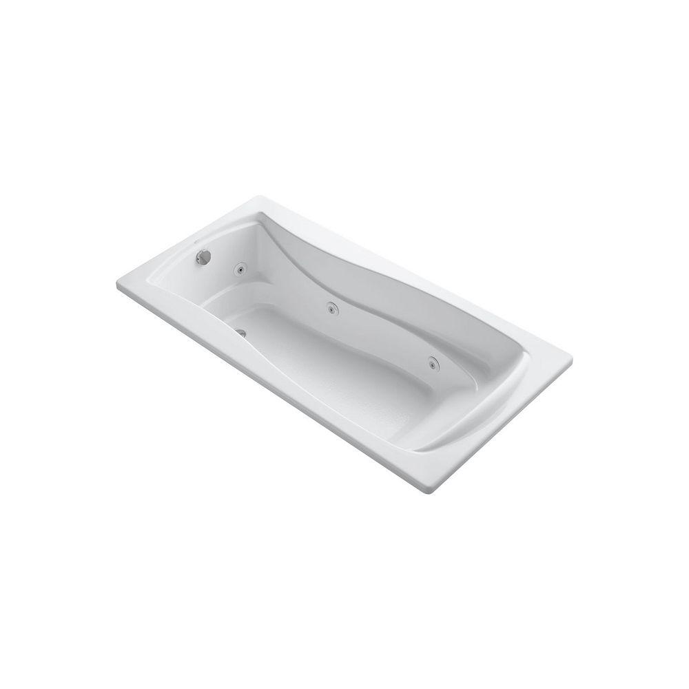 KOHLER Baignoire a hydromassage encastree , 72 x 36 po, avec drain reversible et element chauffant