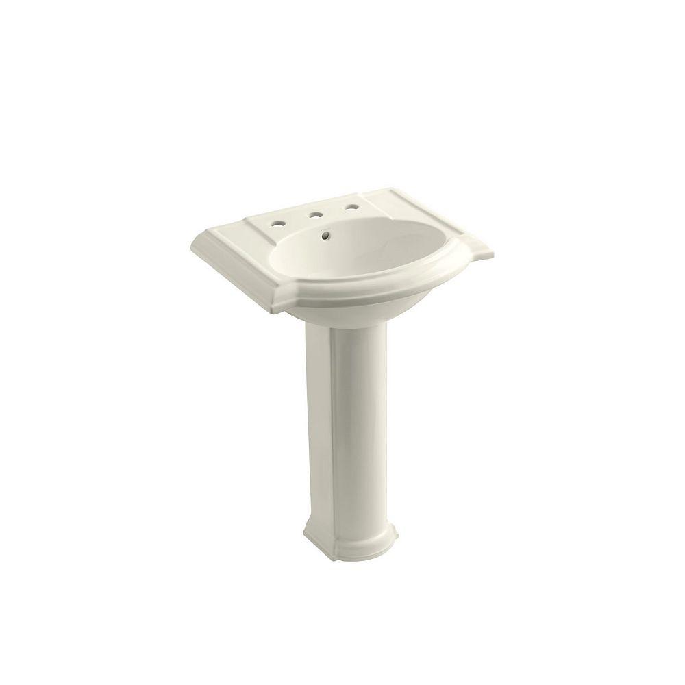 KOHLER 24 inch pedestal bathroom sink with 8 inch widespread faucet holes