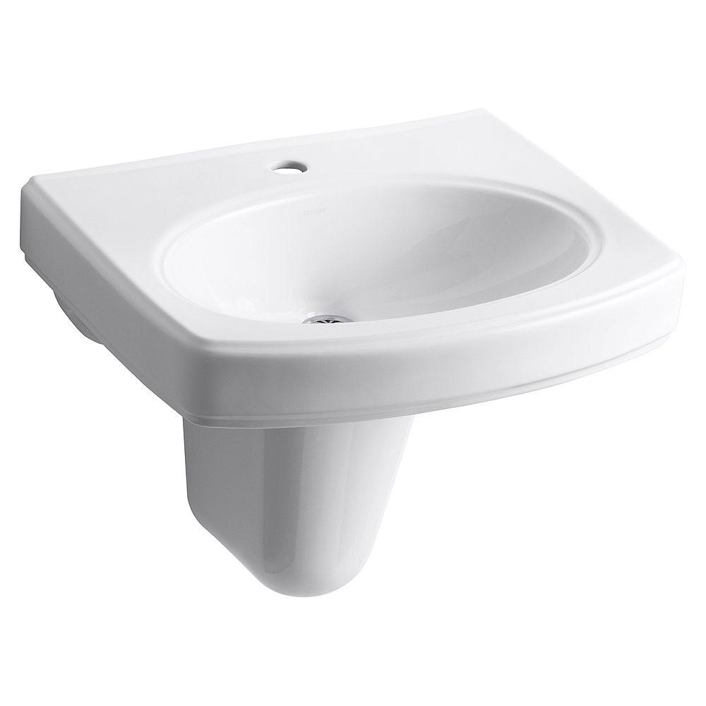 KOHLER wall-mount bathroom sink with single faucet hole