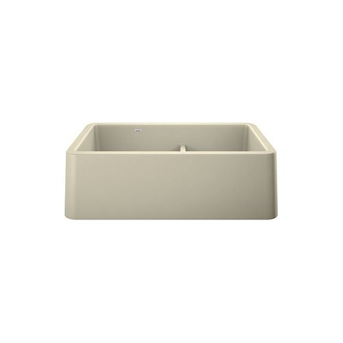 Blanco IKON 33 1.75 LOW DIVIDE, Offset Double Bowl Farmhouse Kitchen Sink, SILGRANIT Biscuit