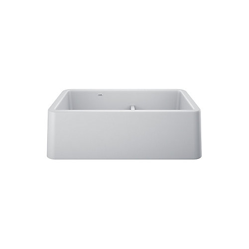 IKON 33 1.75 LOW DIVIDE, Offset Double Bowl Farmhouse Kitchen Sink, SILGRANIT White