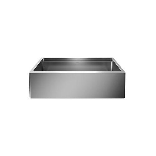 QUATRUS R15 ERGON SUPER SINGLE,  Ergonomic Single Bowl Farmhouse Kitchen Sink, Stainless Steel