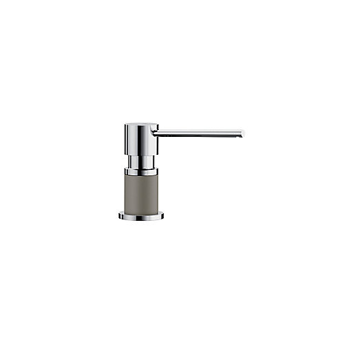 LATO soap dispenser, Chrome/Truffle