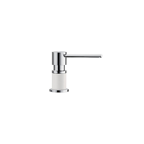 LATO soap dispenser, Chrome/White