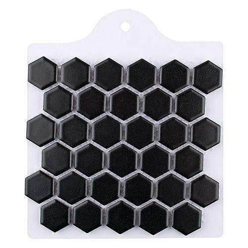 Sample - Metro Hex Matte Black 6-inch x 6-inch Porcelain Mosaic Tile