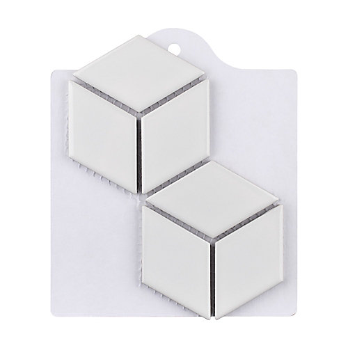 Sample - Metro Rhombus Glossy White 6-inch x 6-inch Porcelain Mosaic Tile