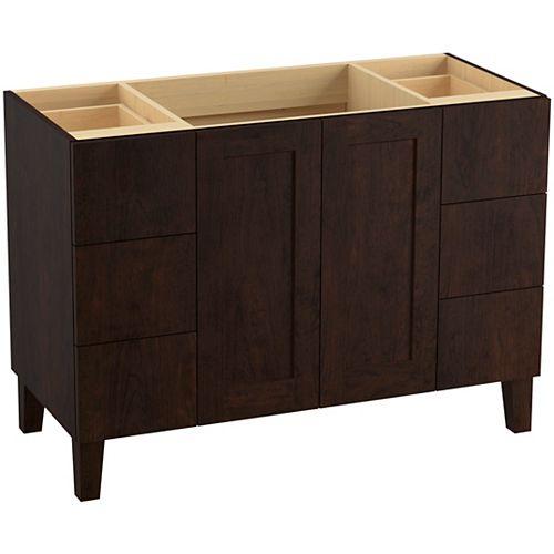 48 inch bathroom vanity cabinet with legs, 2 doors and 6 drawers, split top drawers