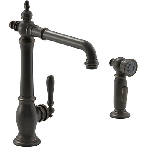 2-hole kitchen sink faucet with 13-1/2 inch swing spout