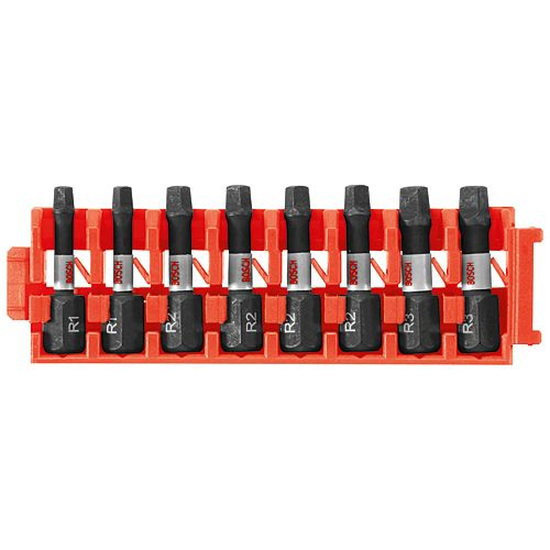 8 pc. Impact Tough Square 1 inch Insert Bits with Clip for Custom Case System