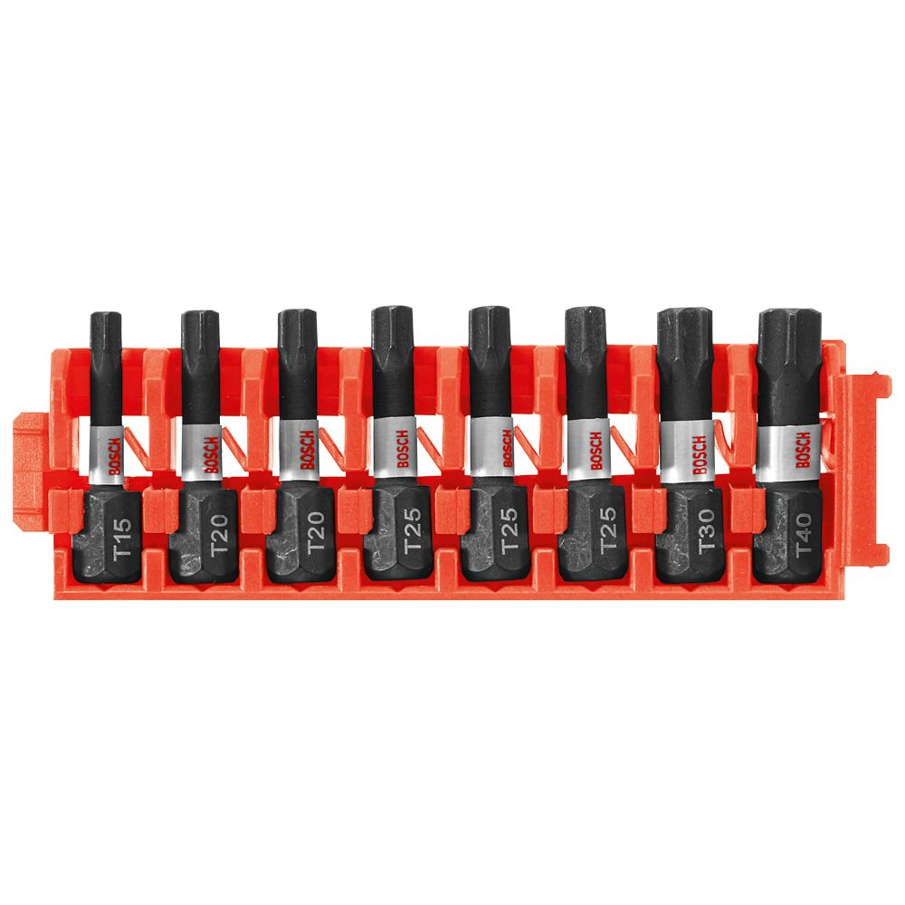 Bosch 8 pc. Impact Tough Torx 1 inch Insert Bits with Clip for Custom Case System
