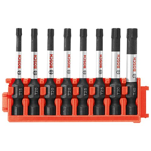8 pc. Impact Tough Torx 2 inch Power Bits with Clip for Custom Case System