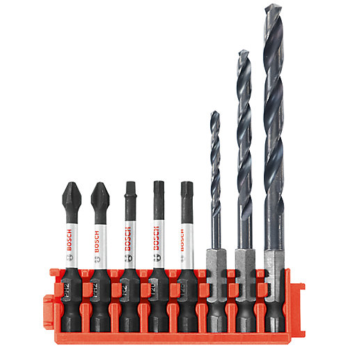 8 pc. Impact Tough Black Oxide Drill and Drive Bits with Clip for Custom Case System