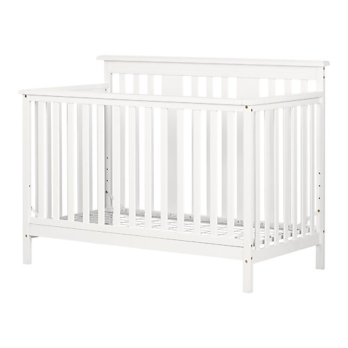 Little Smileys Modern Baby Crib - Adjustable Height Mattress with Toddler Rail, Pure White