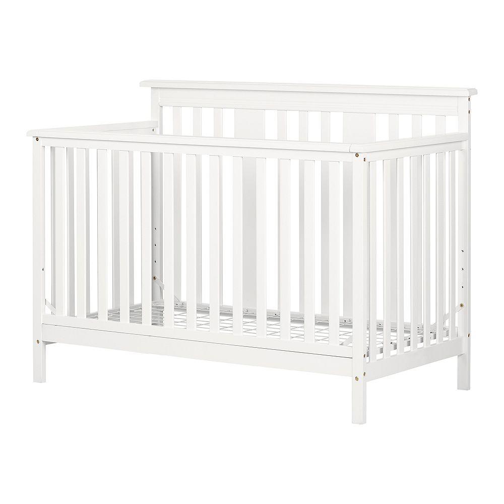 South Shore Lit de bébé moderne - hauteur ajustable avec barrière de transition Little Smileys, Blanc solide