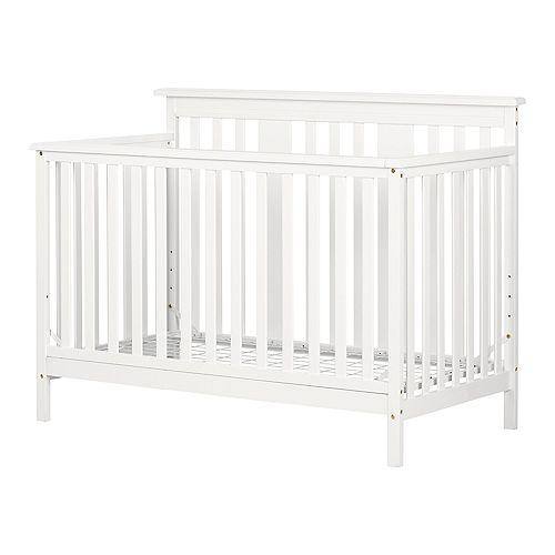 Lit de bébé moderne - hauteur ajustable avec barrière de transition Little Smileys, Blanc solide