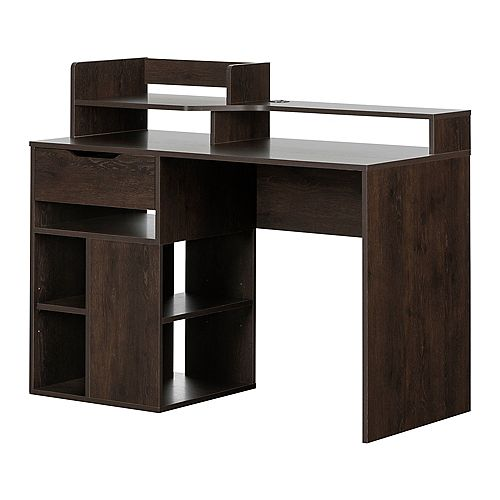 Holland Desk with Hutch and Storage, Brown Oak