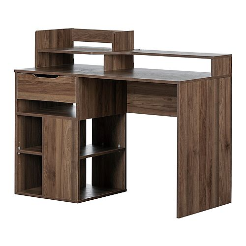Holland Desk with Hutch and Storage, Natural Walnut