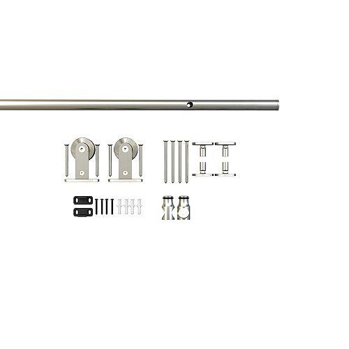 Onward 78 3/4 po (2000 mm) Ensemble de quincaillerie pour porte de grande coulissante décorative, Collection Industrial 2, Nickel satiné