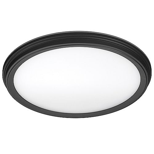 11-inch 900 Lumens Matte Black Beveled Edge Color Changing LED Flush Mount with Night Light Feature