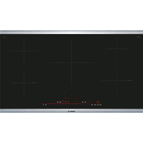 800 Series, 36 inch Induction Cooktop, Black, Stainless Steel Frame, Home Connect