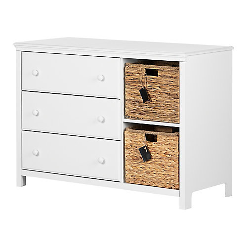 Cotton Candy 3-Drawer Dresser with Baskets, Pure White