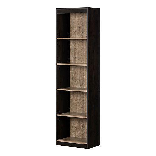 Axess 5-Shelf Narrow Bookcase, Weathered Oak and Ebony