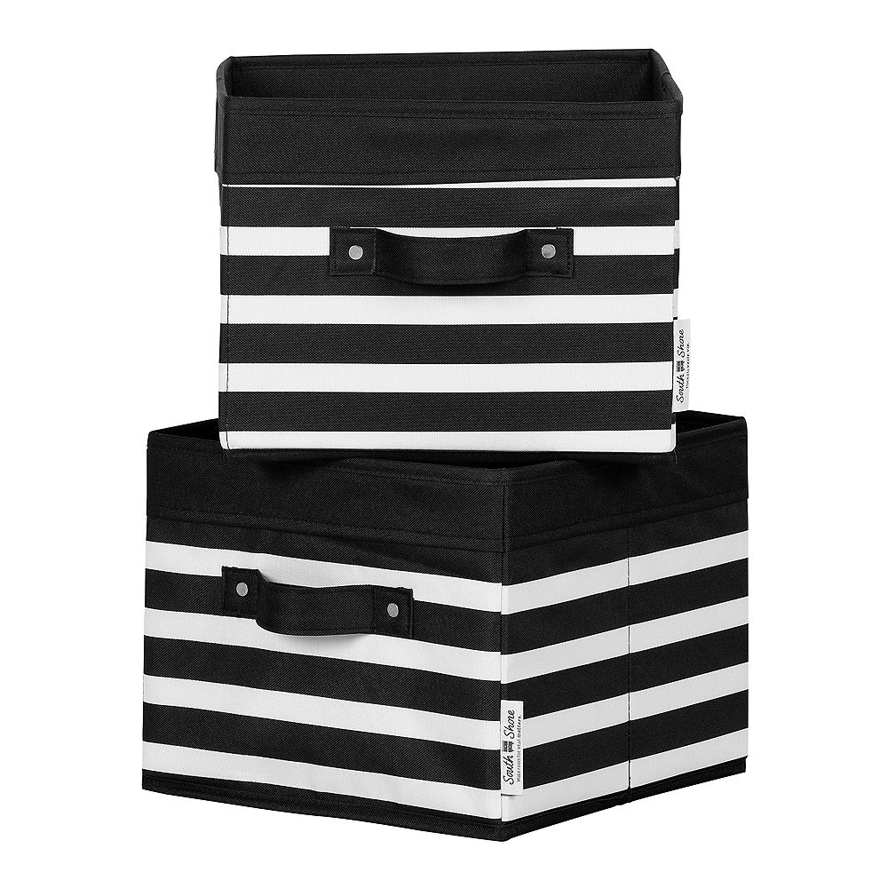 South Shore Storit Black and White Stripes Canvas Baskets, 2-Pack