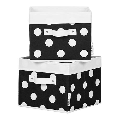 Storit Black with White Dots Canvas Baskets, 2-Pack