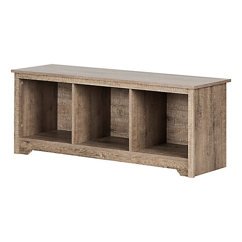 Vito Cubby Storage Bench, Weathered Oak