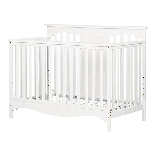 Savannah Baby Crib 4 Heights with Toddler Rail, Pure White