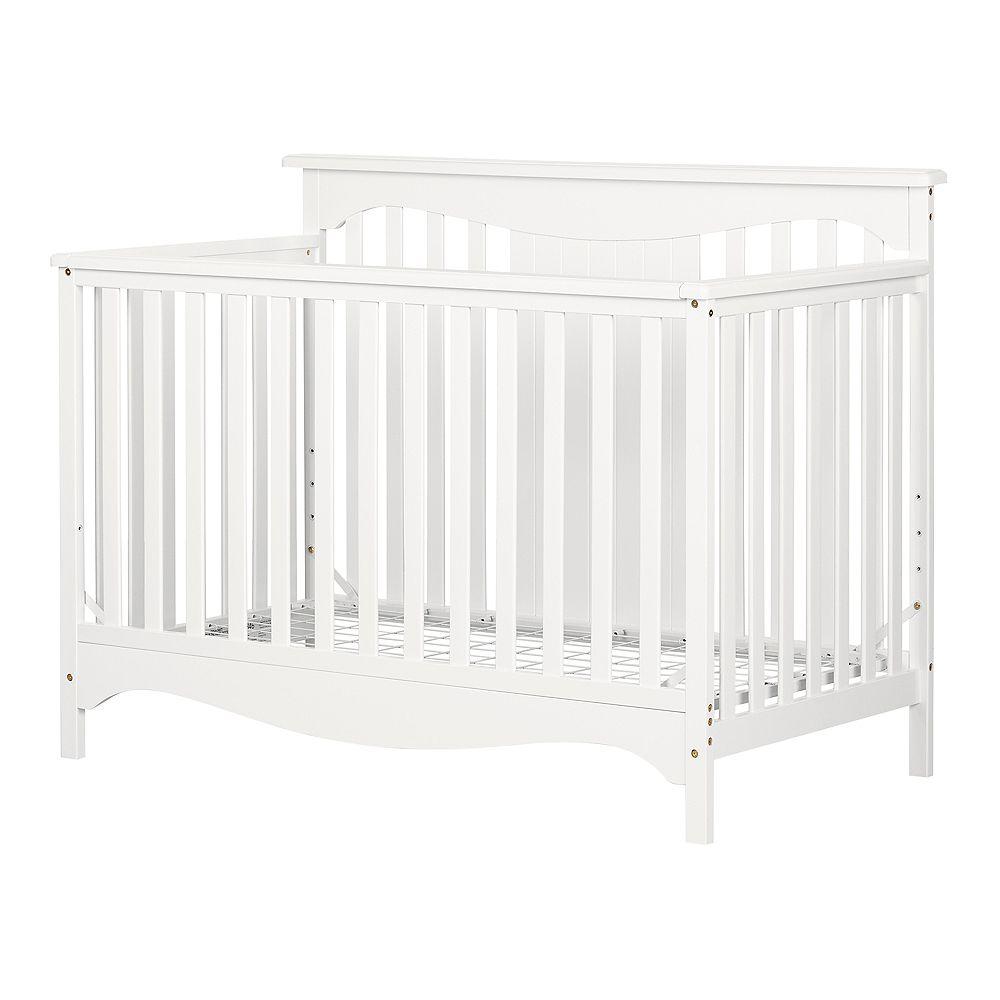 South Shore Lit de bébé avec barrière de transition Savannah, Blanc solide
