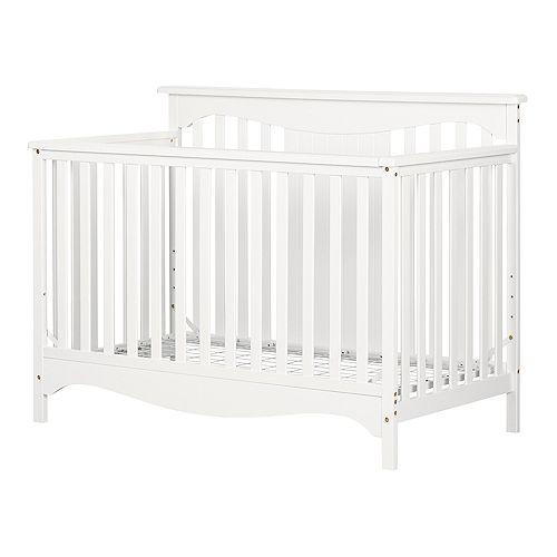 Lit de bébé avec barrière de transition Savannah, Blanc solide