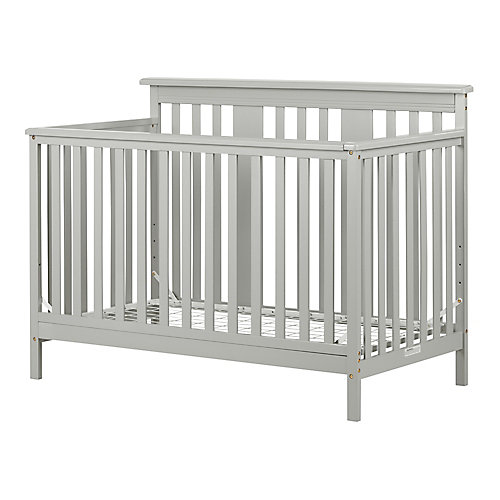 Cotton Candy Baby Crib 4 Heights with Toddler Rail, Soft Gray