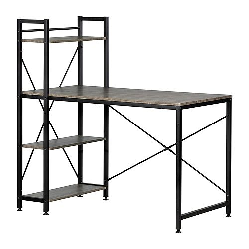 Evane Industrial Desk with Bookcase , Oak Camel